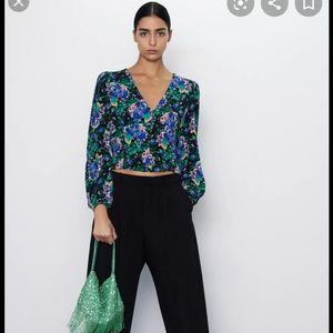 Zara floral print puffy balloons sleeves top